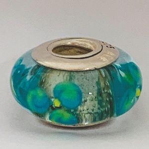 Retired Pandora Murano Glass Bead, Aqua w Flowers